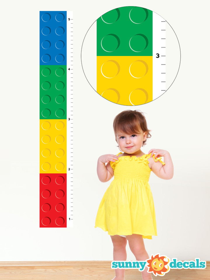 Building Block Growth Chart Fabric Wall Decal Sunny Decals