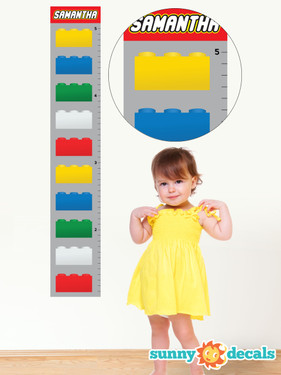 Personalized Building Block Growth Chart Fabric Wall Decal - Growth Chart Wall Art - Sunny Decals