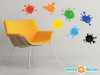 Paint Splatter Fabric Wall Decals - Set of 7 Ink Splotch Wall Stickers - Sunny Decals