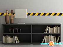 "Caution Tape Border Fabric Wall Decal - Set of Two 25"" x 4"" Sections - Construction Themed Decal - Sunny Decals"