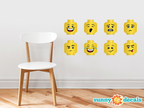 Building Brick Minifigure Heads Wall Decals - Set of 8 - Sunny Decals