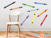 Crayon Fabric Wall Decals - Set of 9 Coloring Crayons - Sunny Decals