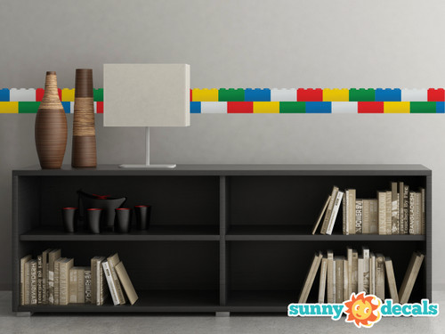 """Small Brick Wall Border Fabric Wall Decal - Set of Two 25"""" x 4.8"""" Sections - Sunny Decals"""