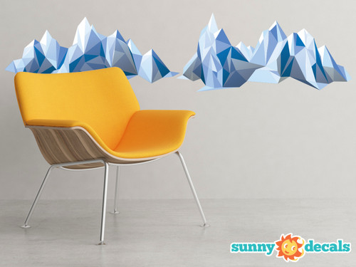 Geometric Mountain Fabric Wall Decal   Modern Mountain Range Wall Art    Sunny Decals