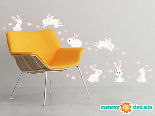 Bunny Rabbits Fabric Wall Decals - Set of 7 Cute Bunnies with Set of 24 Flowers  - Sunny Decals