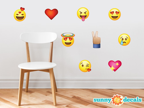 Emoji Emoticon Fabric Wall Decals - Set of 9 Phone Text Faces Wall Stickers - Sunny Decals
