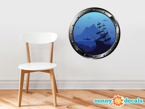 Porthole Fabric Wall Decal - Under the Sea with Ship, Sharks, and Fish - Sunny Decals