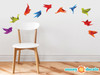 Origami Paper Cranes Wall Decals - Set of 10 Fabric Wall Decals in Various Colors, Paper Crane Wall Decor, Non-toxic, Removable, Reusable, Respositionable, Works on Textured Walls and No VOC Paint