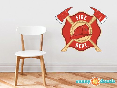 Fire Department Emblem Fabric Wall Decal - Firefighter Sticker with Two Axes and Fireman's Helmet, Maltese Cross Décor - Sunny Decals