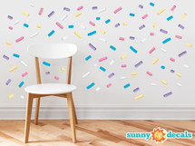 Sprinkles Fabric Wall Decals - Mini Bar Stickers, Confetti Decor, 110 Sprinkles in 5 Colors, Kids Room Decoration, Minipops Wall Decorations - Sunny Decals