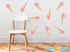 Ice Cream Fabric Wall Decals - Set of 10 Colorful Icecream Pattern Décor, Kids Room, Nursery Decal Peel and Stick Graphic - Sunny Decals