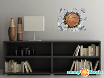 Basketball Fabric Wall Decal - 3D Break Through The Wall Basketball Wall Art, Sports Inspiration Wall Décor, Removable Self Adhesive Decal, Sports Wall Sticker
