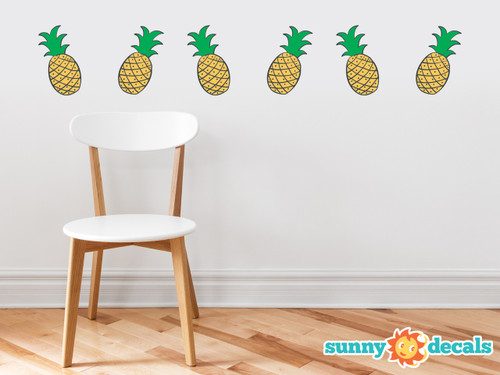 Pineapple Pattern Fabric Wall Decal - Set of 6 Pineapple Fruit Shaped Wall Décor, Perfect for Living Room, Bedroom, Bathroom, Office, Home Decoration