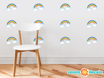 Rainbow Pattern Fabric Wall Decal - Set of 12 Mini Rainbows Wall Décor, Perfect for Living Room, Bedroom, Bathroom, Office, Home Decoration