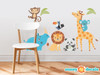 Wild Animal Park Fabric Wall Decals with Panda, Lion, Giraffe, Rhino, Toucan, Koala, and Monkey - Sunny Decals