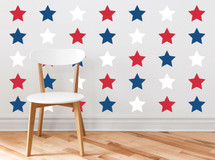 Red White and Blue Stars Fabric Wall Decals