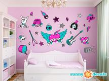 Rock Star Fabric Wall Decals - Jumbo - Girls - Sunny Decals