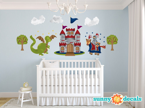 Knight and Dragon Fabric Wall Decals - Jumbo - Sunny Decals