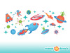 Space Fabric Wall Decals - Detailed - Planets, Stars, Aliens, UFO, Rocket, Astronaut - Sunny Decals