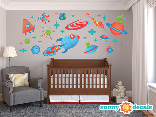 Space Fabric Wall Decals - Jumbo - Planets, Stars, Aliens, UFO, Rocket, Astronaut - Sunny Decals