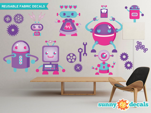 Robot Fabric Wall Decals - Girls - Sunny Decals