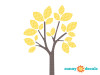 Modern Tree Wall Decal - Yellow - Detailed