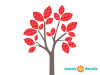 Modern Tree Wall Decal - Red - Detailed