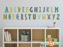 Modern Alphabet Fabric Wall Decals - Orange Grey Turquoise Black - Sunny Decals