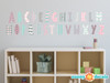Modern Alphabet Fabric Wall Decals - Pink Grey Light Blue - Sunny Decals