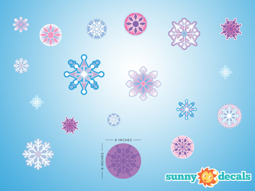 Frozen Inspired Snowflakes Fabric Wall Decals   Detailed   Sunny Decals