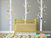 Birch trees fabric wall decals with owls - Sunny Decals