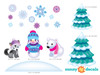 Frozen Inspired Animals with Snowman, Fox, Polar Bear, Trees - Detailed - Sunny Decals