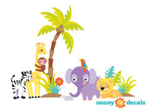 Safari Fabric Wall Decal with Palm Tree, Lion, Giraffe, Zebra and More - Sunny Decals