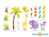 Safari Fabric Wall Decal with Palm Tree, Lion, Giraffe, Zebra and More - Detailed - Sunny Decals