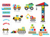 Construction Fabric Wall Decal with Dump Truck, Cement Mixer, Bulldozer, Excavator - Detailed - Sunny Decals