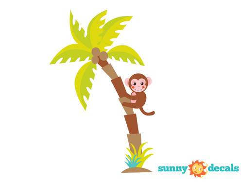Palm Tree Fabric Wall Decal with Monkey, Jungle Tree Decal, Safari Tree Decor - Sunny Decals