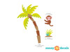 Palm Tree Fabric Wall Decal with Monkey, Jungle Tree Decal, Safari Tree Decor - Detailed - Sunny Decals