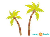 Palm Tree Fabric Wall Decals, Comes with 2 Palm Trees - Sunny Decals
