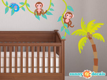 Monkeys on a Vine Fabric Wall Decal with Palm Tree, Monkey Vine Decal - Sunny Decals