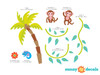 Monkeys on a Vine Fabric Wall Decal with Palm Tree, Monkey Vine Decal - Detailed - Sunny Decals