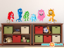 Monsters Fabric Wall Decals, Set of 6 Cute Monsters - Sunny Decals