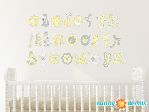 Alphabet Fabric Wall Decals, Script Alphabet in Yellow and Grey - Sunny Decals