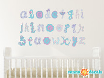 Alphabet Fabric Wall Decals, Script Alphabet in Pink and Purple - Sunny Decals