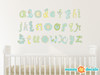 Alphabet Fabric Wall Decals, Script Alphabet in Blue and Green - Sunny Decals