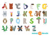 Animal Alphabet Fabric Wall Decals - Ant, Dolphin, Hippo, Monkey and More - Detailed - Sunny Decals