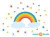 Rainbow Fabric Wall Decal with Stars - Detailed - Sunny Decals