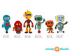 Robot Fabric Wall Decals, Set of 6 Cute Robots - Detailed - Sunny Decals
