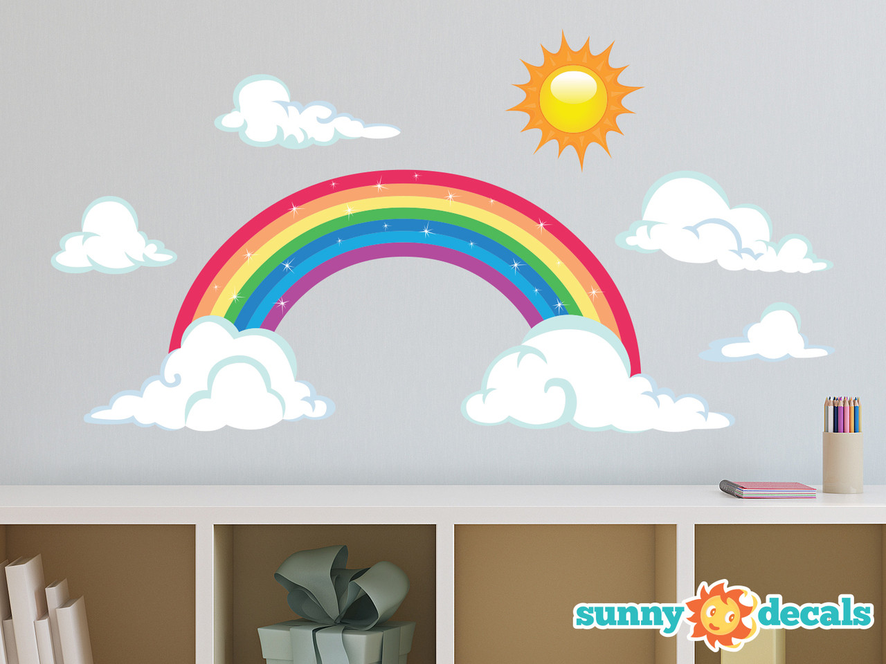sparkling rainbow fabric wall decal with sun and clouds two size options