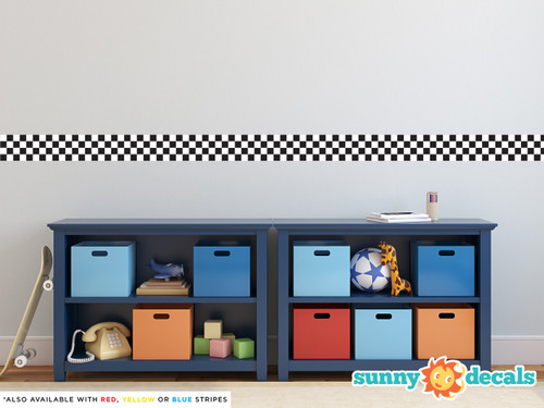 Racing stripe fabric wall decal - checkerboard - Sunny Decals