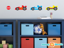 Racing cars fabric wall decals - NASCAR inspired - Sunny Decals